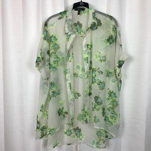Jessica Simpson Blue&Green Floral Blouse Sz.L
